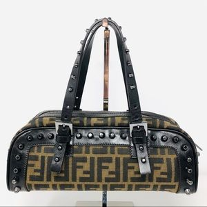 Fendi Zucca Studded Shoulder Bag